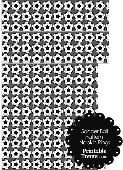 Grey Soccer Ball Pattern Napkin Rings from PrintableTreats.com