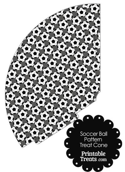 Grey Soccer Ball Pattern Treat Cone from PrintableTreats.com
