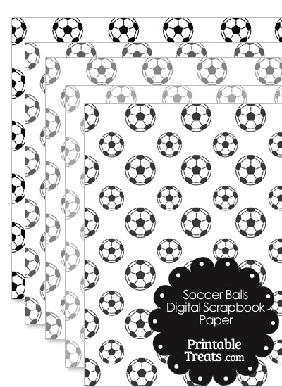 Grey Soccer Digital Scrapbook Paper from PrintableTreats.com
