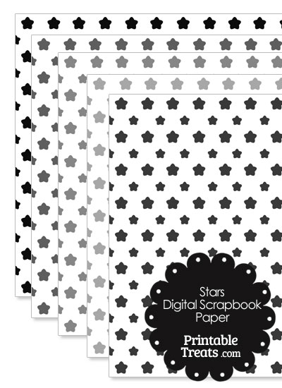 Grey Star Digital Scrapbook Paper from PrintableTreats.com