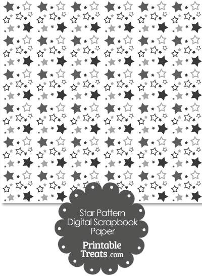 Grey Star Pattern Digital Scrapbook Paper from PrintableTreats.com