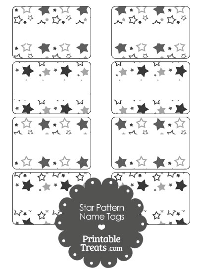 Grey Star Pattern Name Tags from PrintableTreats.com