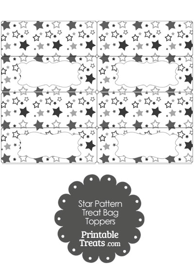 Grey Star Pattern Treat Bag Toppers from PrintableTreats.com