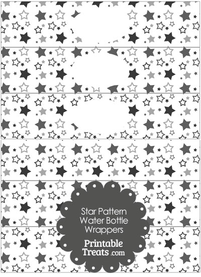 Grey Star Pattern Water Bottle Wrappers from PrintableTreats.com