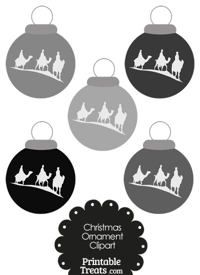 Grey Three Wise Men Christmas Ornament Clipart from PrintableTreats.com