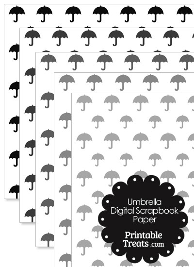 Grey Umbrella Digital Scrapbook Paper from PrintableTreats.com