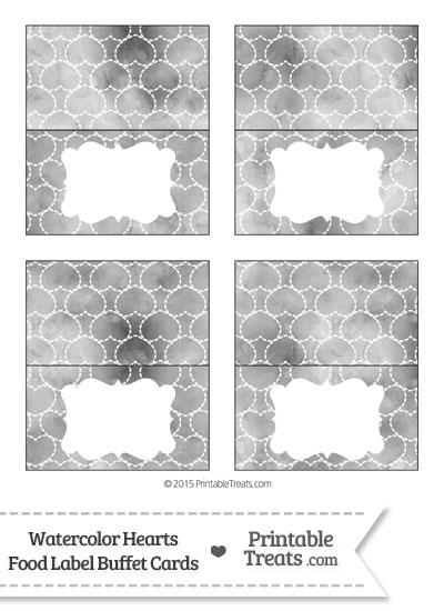 Grey Watercolor Hearts Food Labels from PrintableTreats.com