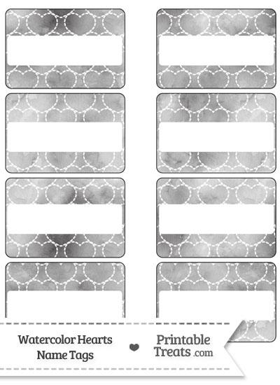 Grey Watercolor Hearts Name Tags from PrintableTreats.com