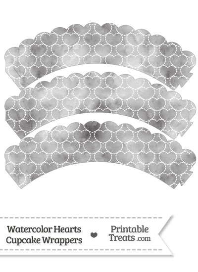 Grey Watercolor Hearts Scalloped Cupcake Wrappers from PrintableTreats.com