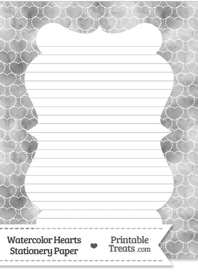 Grey Watercolor Hearts Stationery Paper from PrintableTreats.com