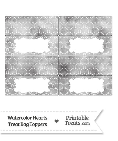 Grey Watercolor Hearts Treat Bag Toppers from PrintableTreats.com