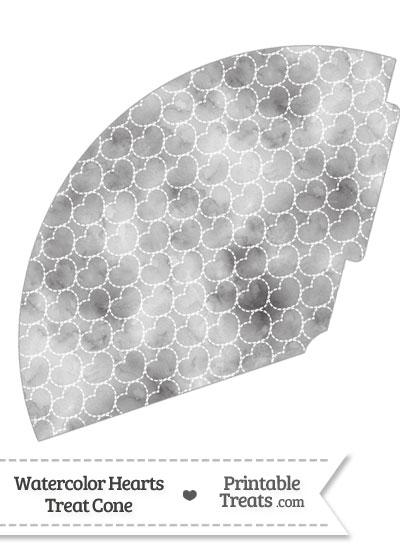 Grey Watercolor Hearts Treat Cone from PrintableTreats.com