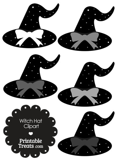 Grey Witch Hat Clipart with Large Bow from PrintableTreats.com