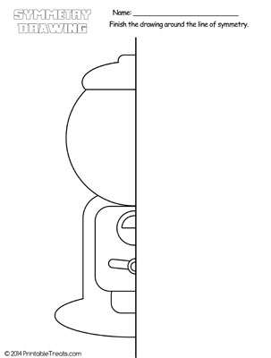 gumball machine symmetry drawing worksheet