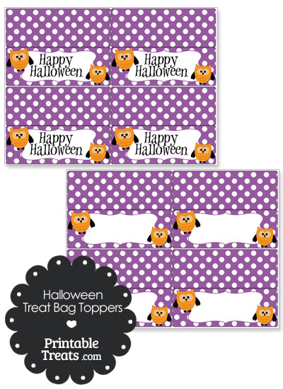 Halloween Owl Treat Bag Toppers from PrintableTreats.com