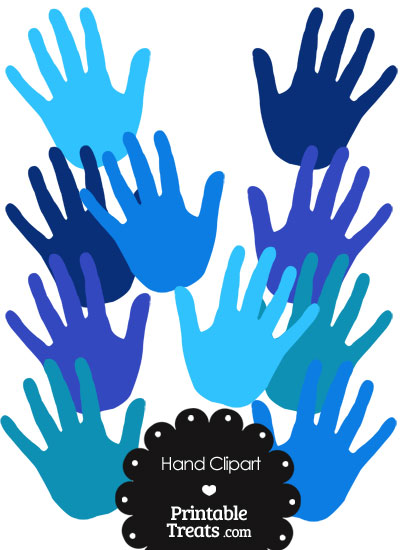 Hand Clipart in Shades of Blue from PrintableTreats.com