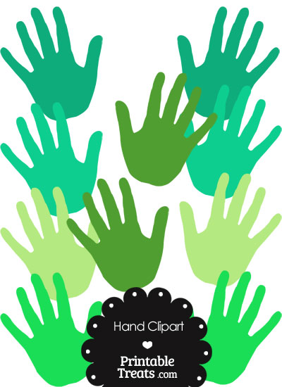 Hand Clipart in Shades of Green from PrintableTreats.com