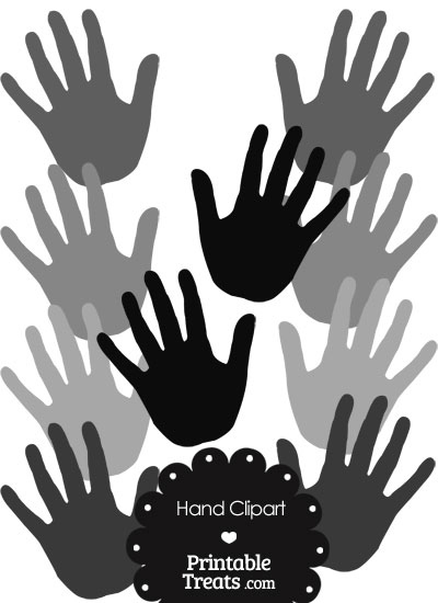 Hand Clipart in Shades of Grey from PrintableTreats.com