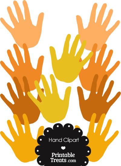 Hand Clipart in Shades of Orange from PrintableTreats.com