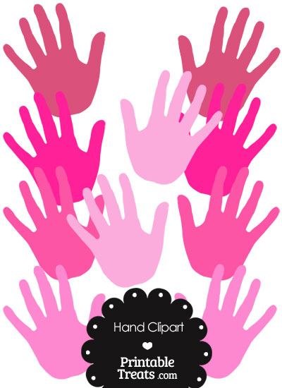 Hand Clipart in Shades of Pink from PrintableTreats.com