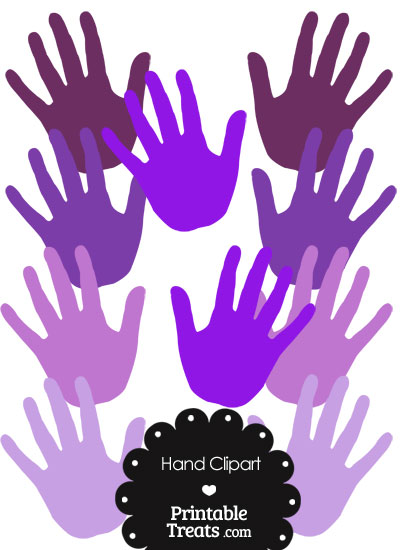 Hand Clipart in Shades of Purple from PrintableTreats.com