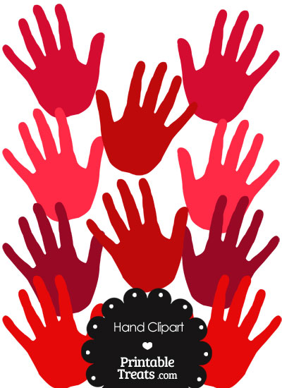 Hand Clipart in Shades of Red from PrintableTreats.com