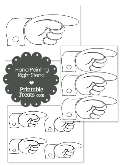 Hand Pointing Right Stencil from PrintableTreats.com