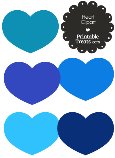 Heart Clipart in Shades of Blue from PrintableTreats.com