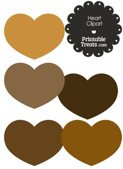 Heart Clipart in Shades of Brown from PrintableTreats.com