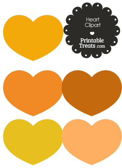 Heart Clipart in Shades of Orange from PrintableTreats.com