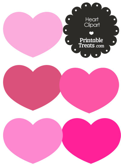 Heart Clipart in Shades of Pink from PrintableTreats.com