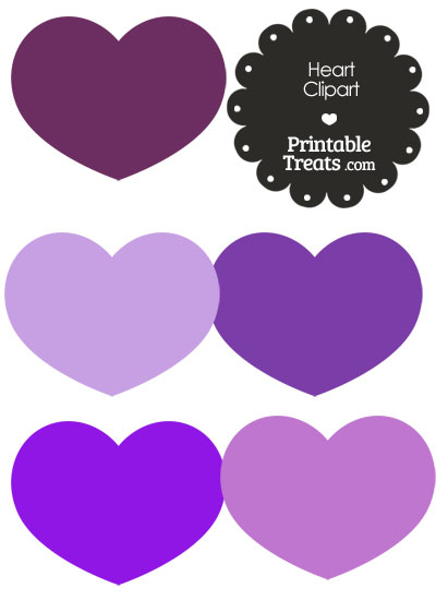 Heart Clipart in Shades of Purple from PrintableTreats.com