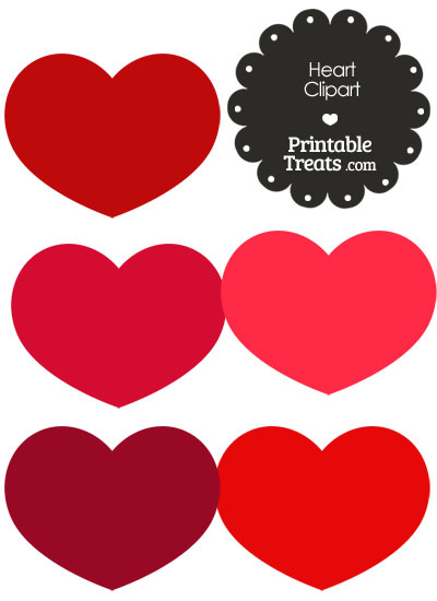 Heart Clipart in Shades of Red from PrintableTreats.com