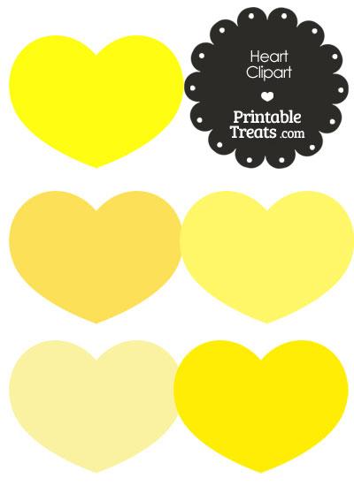 Heart Clipart in Shades of Yellow from PrintableTreats.com