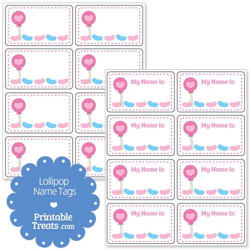 heart lollipop name tags