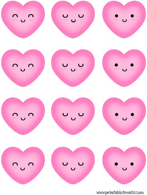 hearts to print pink kawaii faces