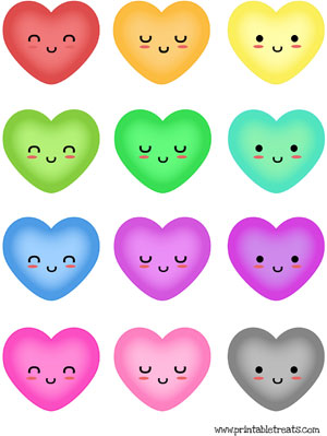 rainbow hearts to print