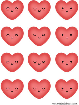 hearts to print red kawaii faces