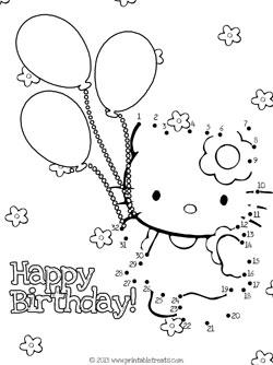 hello kitty birthday dot to dot