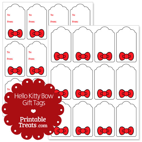 Hello Kitty bow gift tags
