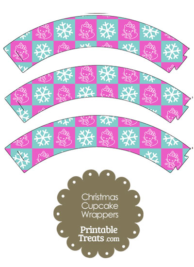 Hello Kitty Christmas Checkered Cupcake Wrappers from PrintableTreats.com