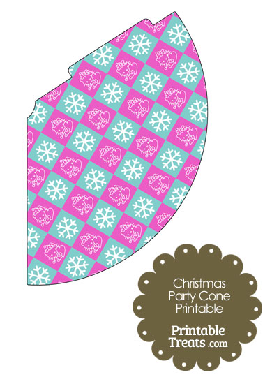 Hello Kitty Christmas Checkered Party Cone from PrintableTreats.com