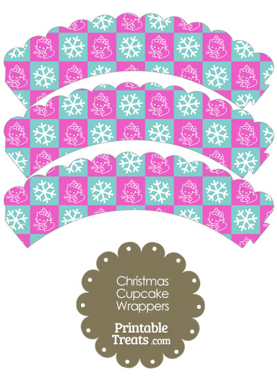 Hello Kitty Christmas Checkered Scalloped Cupcake Wrappers from PrintableTreats.com