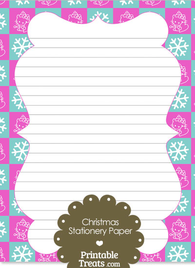 Hello Kitty Christmas Checkered Stationery Paper from PrintableTreats.com