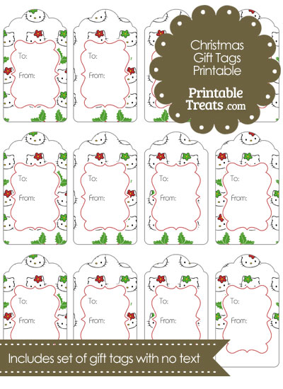 Hello Kitty Christmas Holly Gift Tags from PrintableTreats.com