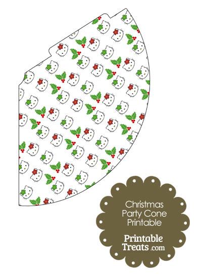 Hello Kitty Christmas Holly Party Cone from PrintableTreats.com