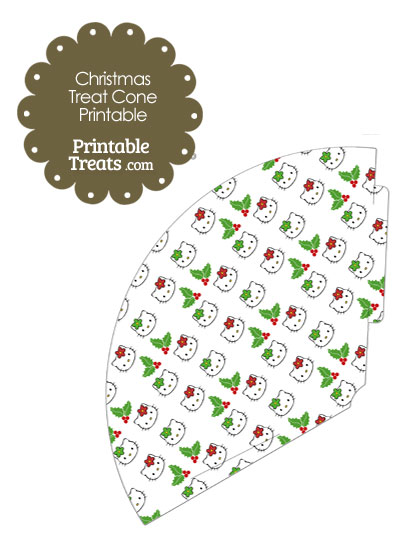 Hello Kitty Christmas Holly Printable Treat Cone from PrintableTreats.com