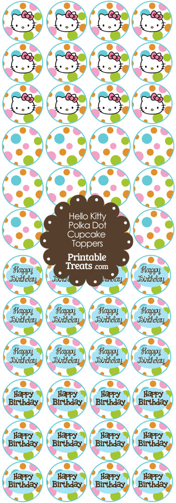 Hello Kitty Polka Dot Party Cupcake Toppers Set 2 from PrintableTreats.com
