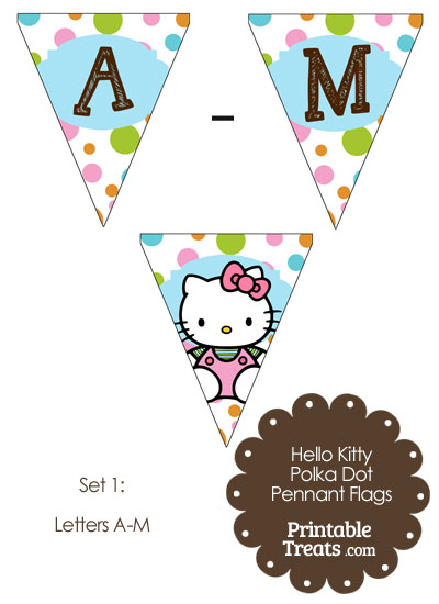 Hello Kitty Polka Dot Pennant Banner Letters A-M from PrintableTreats.com
