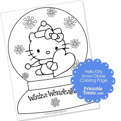 Hello Kitty snow globe winter coloring page